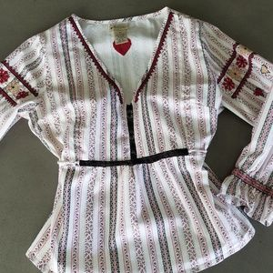 Anthropologie Elevenses Cross Stitch Peasant Top